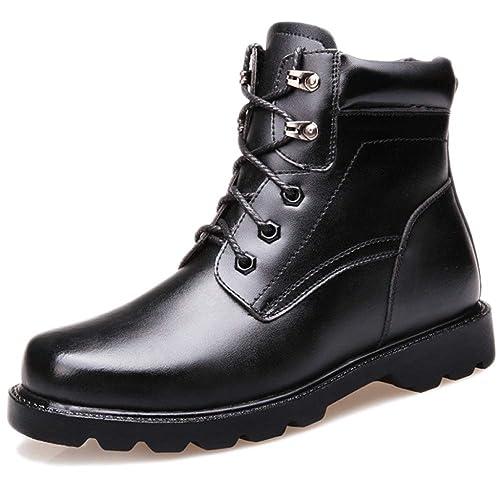 Botines De Cuero Negros Zapatos Altos para Hombres Botas Militares con Cordones del Ejército Trekking Al Aire Libre Caminatas De Seguridad De Trabajo De ...