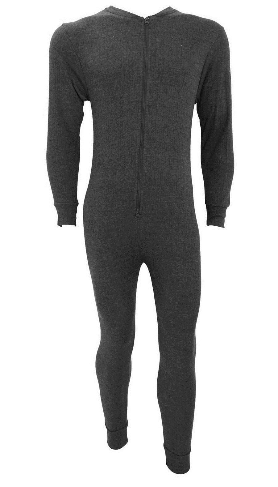 New Mens Thermal Onesie All in One Underwear Zip-up Suit Baselayer Ski S-XXL Charcoal Grey by Fashion Oasis