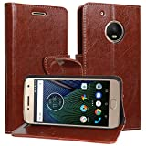DMG Moto G5 Flip Cover, Sturdy PU Leather Wallet Book Cover Case for Moto G5 / Moto G 5th Generation (Brown)