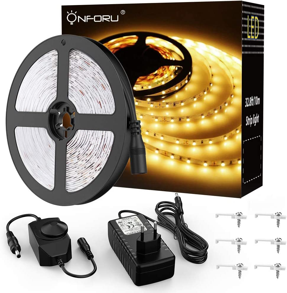 Onforu 10M Tira LED Regulable, Blanco Cálido 3000K LED Strip, Kit Cinta Flexible, 24V Franja LED con Regulador de Intensidad, Decoración Interior de LED 2835 con Adaptador para Habitación Cocina Salón