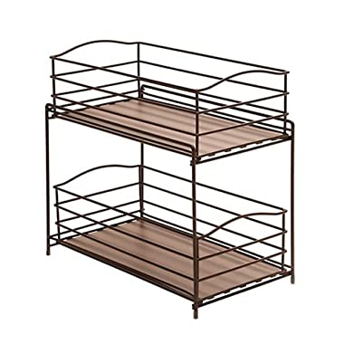 Seville Classics 2-Tier Sliding Basket Drawer Kitchen Counter and Cabinet Organizer, Bronze