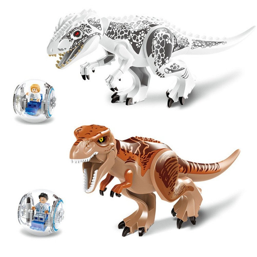 HKF 2 Pieces Large Size Jurassic World Tyrannosaurus Rex Toys Set - Dinosaur Building Toys Great Gift for Kids