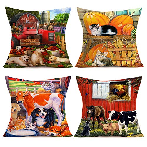 Smilyard Vintage Animals Farmhouse Pillow Covers Cute Dog Cow Pig Rooster Decorative Pillow Cover Cotton Linen FallPumpkin Home Decor Rustic Pillow Case Square 18x18 Inch for Couch Set of 4(Farm Set) (Winter Days Of Pillows Dog)
