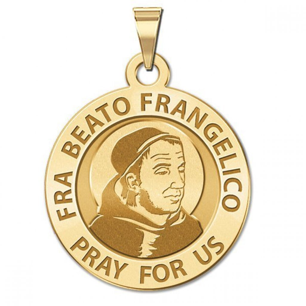 PicturesOnGold.com Fra Beato Frangelico Round Religious Medal 14K Yellow or White Gold or Sterling Silver
