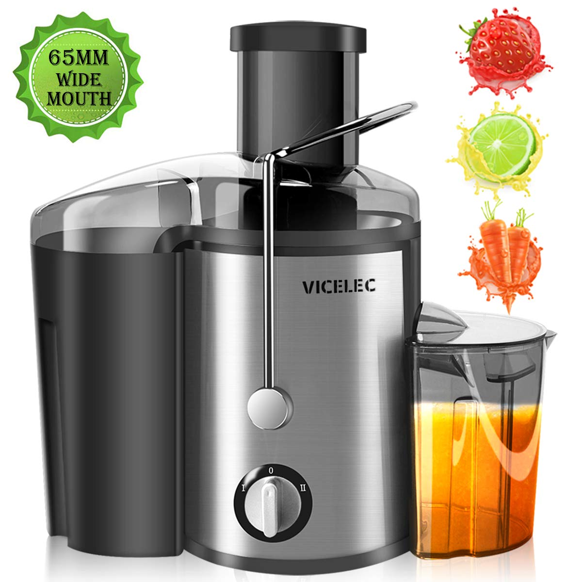 Juicer Machines with Wide Mouth Dual Speed Centrifugal Juicer for Fruits and Vegetable, 600W Stainless Steel Juice Extractor