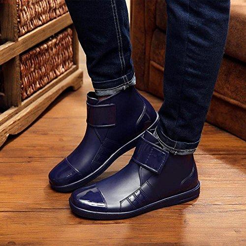 short casual slip blue rubber boots Velcro boots women's boots anti low rain men's IwHXXqpZ