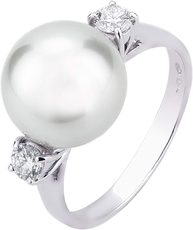 Carlo Raspagni Anillo de Oro Blanco de 18 Quilates Diamantes Naturales y Perla Australiana.
