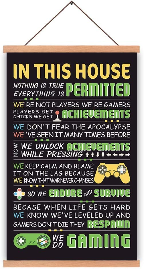 HPNIUB Natural Wood Magnetic Hanger Frame Poster- Gamer Art Prints Gaming Quotes Painting, Video Game Wall Art Controller Console Poster for Gamer Bedroom 28X45cm Frames Hanging Kit