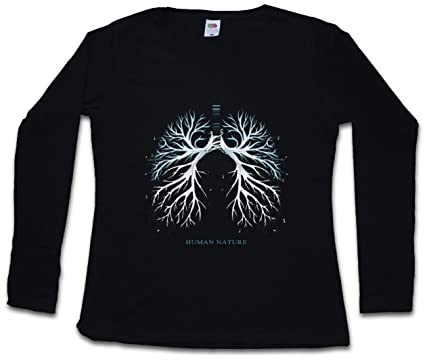 e7c747edd2 Image Unavailable. Image not available for. Color  Human Nature Women Long  Sleeve T-Shirt Animal Welfare Vegan Lungs Protection ...