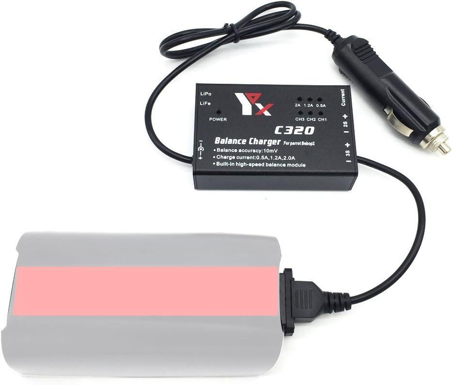 Kismaple Chargeur de batterie Pour Parrot Bebop 2 Drone Chargeur de voiture allume-cigare