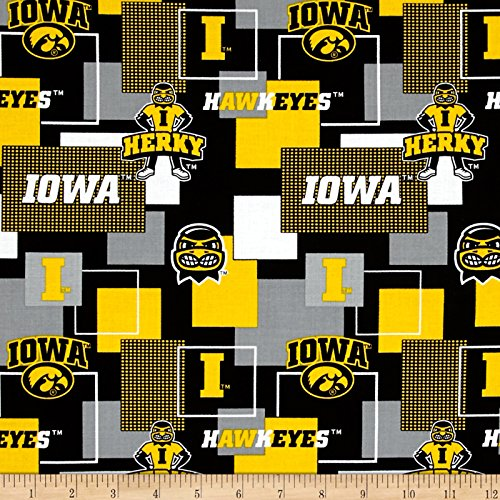 Iowa Hawkeyes Fabric (Sykel Enterprises Collegiate Cotton Broadcloth University Of Iowa Block Print Black Fabric By The Yard, Black)