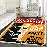 Tiki Bar Non Slip Rugs Welcome To Hawaii Tropical Bar Party Retro Style Grunge Signboard Picture Art Door Mats for inside Non Slip Backing 4'x5' Multicolor