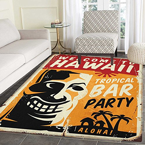 Tiki Bar Non Slip Rugs Welcome To Hawaii Tropical Bar Party Retro Style Grunge Signboard Picture Art Door Mats for inside Non Slip Backing 4'x5' Multicolor by smallbeefly