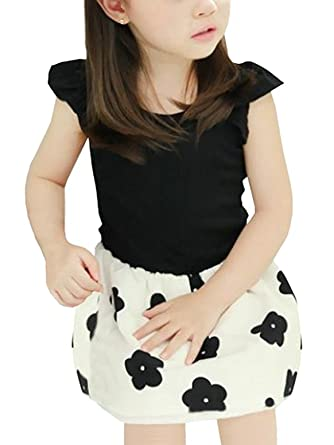 9f5130f4a0b53 FireflyShop 子供服 女の子 フラワー ワンピース バックリボン 花柄 ドッキングワンピ ノースリーブ 韓国 ドレス (