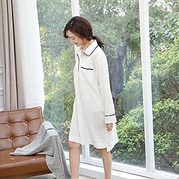 XBR La primavera y el verano de camisón mujer manga larga de pijama japonés ,Blanco