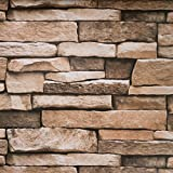 Peel and Stick Wallpaper - Stone Wallpaper - Self Adhesive - Removable 3d Wall Decor, Large Size 1.47x14.8 Feet (Stone)