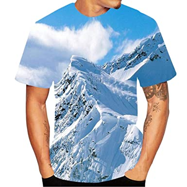1c91519b40b2 Amazon.com: aiNMkm Top Blouse,2019 Men's Snow Mountain Abstract 3D Flood  Printed Short-Sleeved T-Shirt Top Blouse: Clothing