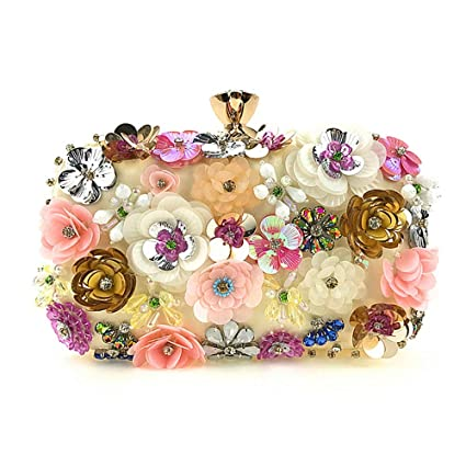 Yamyannie Donna Clutch Borsa Embragues de Las Mujeres Bolso de Noche de Flores de Colores Lentejuelas