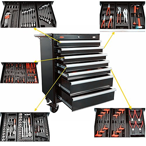 7 Drawer Mobile Tool (Docheer 7 Drawers Rolling Tool Cabinet with 5 Sets Tools for Auto Vehicle Maintenance and Repair Tools Kits Steel Garage Storage Cabinet Rolling Tool Box 27 x 18.3 x 39.2)