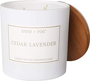 Sand + Fog Cedar Lavender Soy Wax Very Large Candle - 3-Wick, 26 oz. with Wood Metal Lid - 3-Wick, 25 oz.