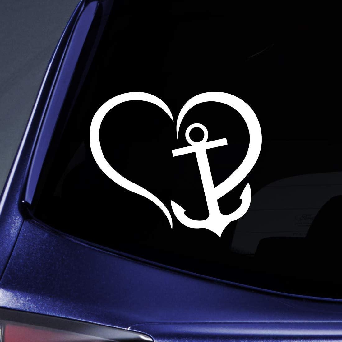 "Anchor Heart Sticker Decal Notebook Car Laptop 5.5"" (White)"