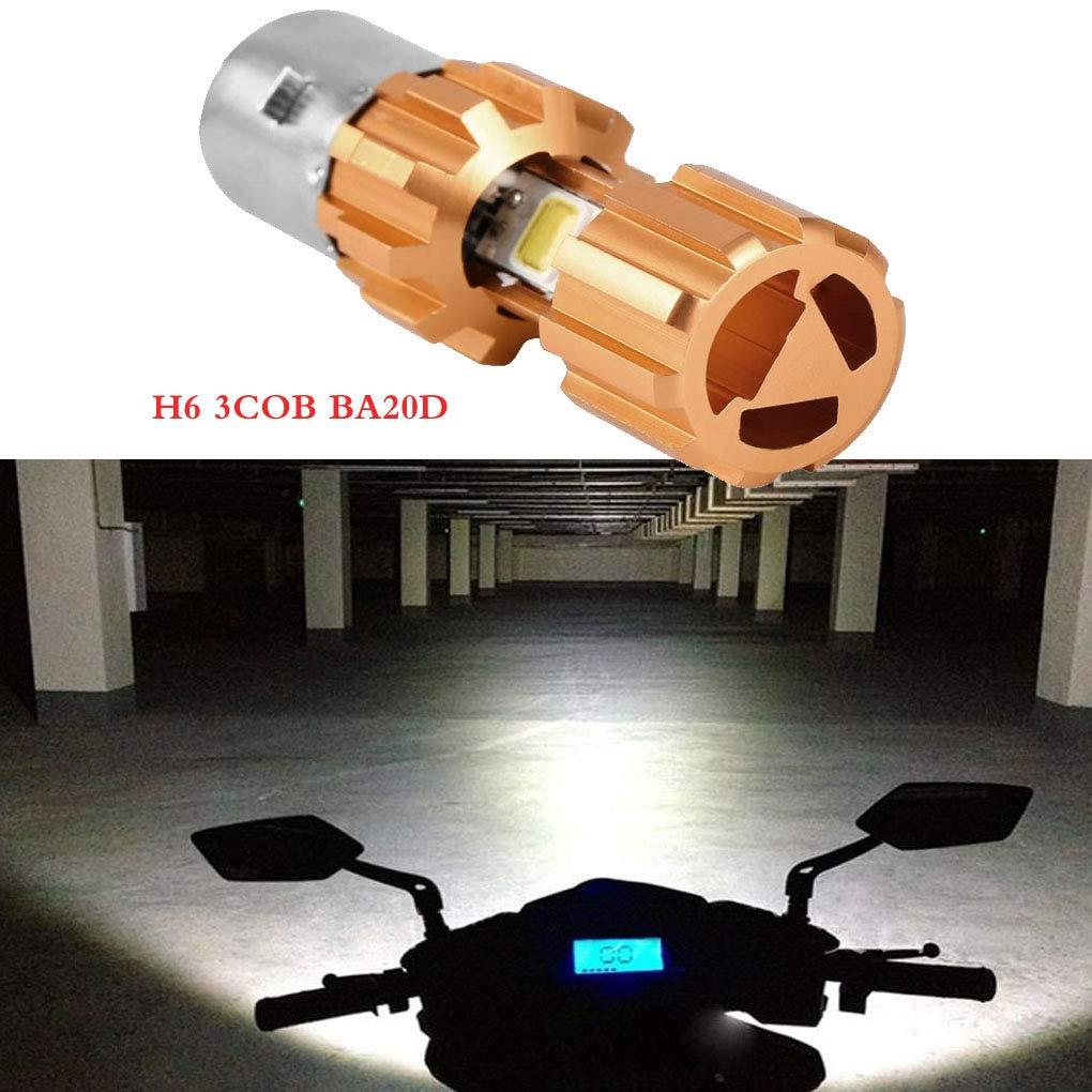 Lorsoul Impermeable Moto DC12V H6 3COB LED Bulbo de la Linterna de la Motocicleta de Tres Lados Iluminaci/ón BA20D