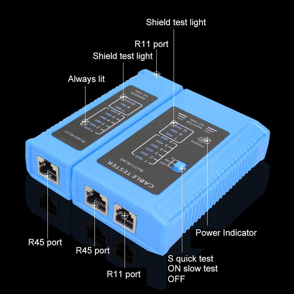Batteria 9V Inclusa apparecchiature di collaudo di Rete per Filo Cat6e Cat6 Cat5 Cat7 UPT LOYWCU Tester LAN controllore Filo telefonico Tester Cavo di Rete RJ45 RJ11 Tester Cavo Ethernet