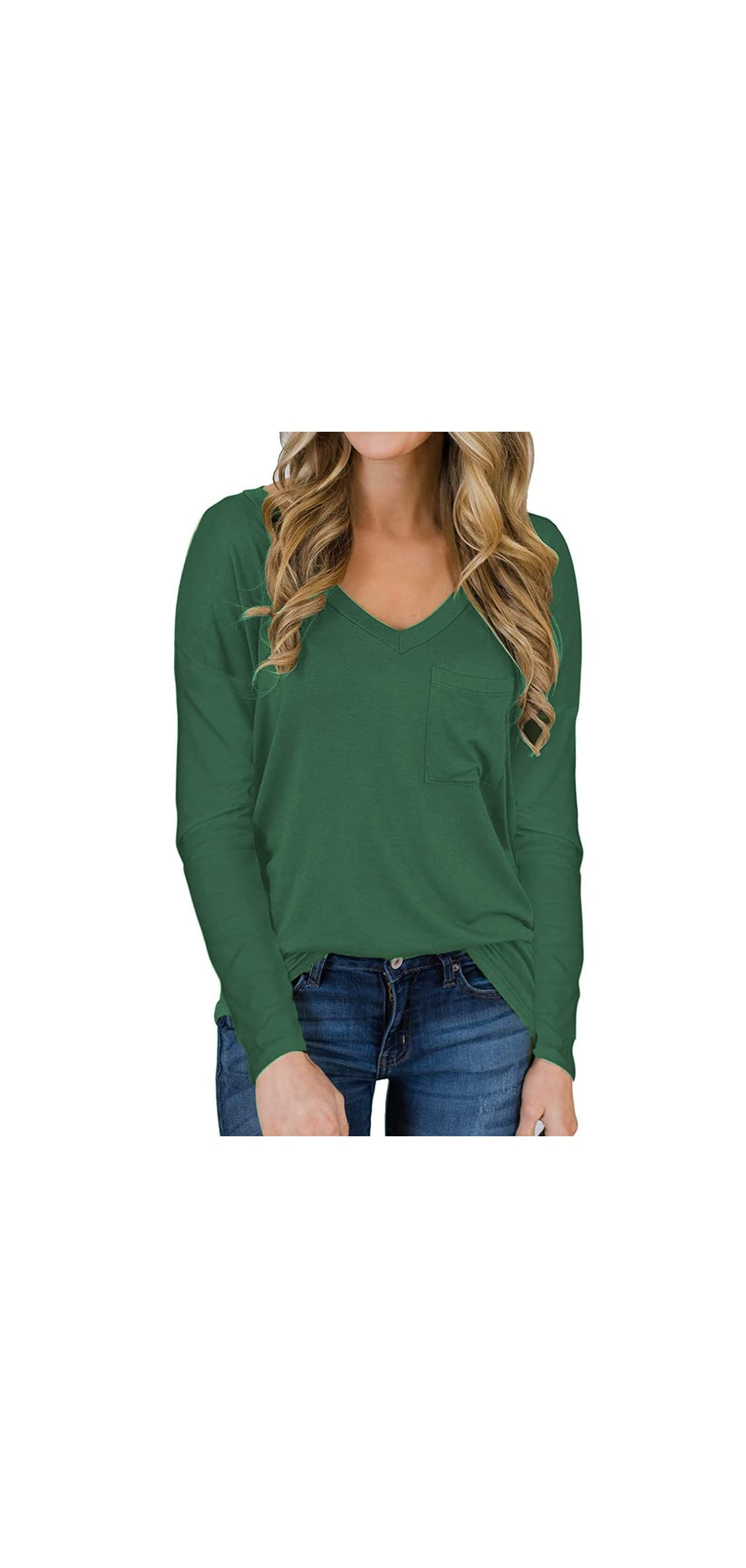 Women's Long Sleeve V-neck Shirts Loose Casual Tee With