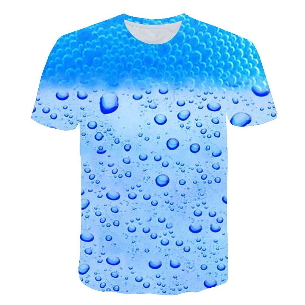 DATEWORK Mens 3D Flood Printed Short-Sleeved T-Shirt Top Blouse