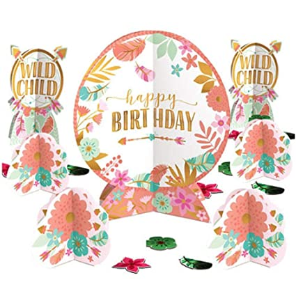 Amazon 1st Birthday Boho Girl Table Decorating Kit 27pc