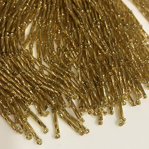 Bugle bead droppers gold color, bugle bead droppers for ballroom dress,Bugle bundles Sapphire Length 8cm, Price for 50 threads