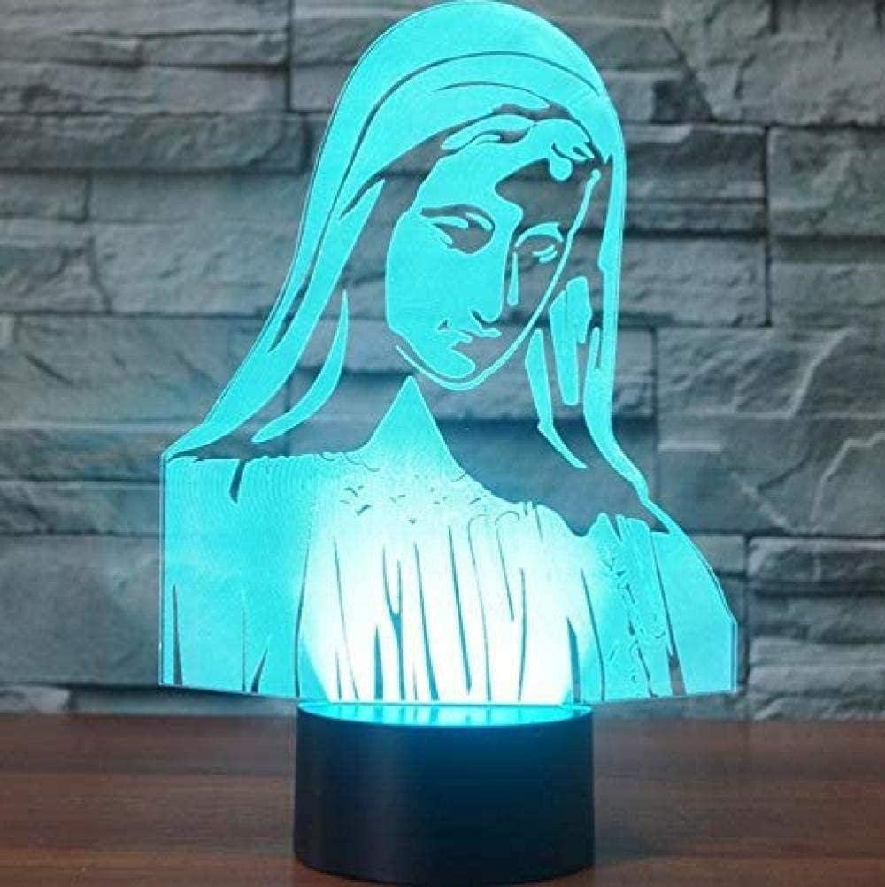 Virgen María Luz Nocturna 3D Lámpara De Óptico Ilusión De LVYONG Con Control Remoto 16 Cambio De Color Luces Led Usb De Táctil Para El Hogar Decoración Mejor Regalo Para Niños.