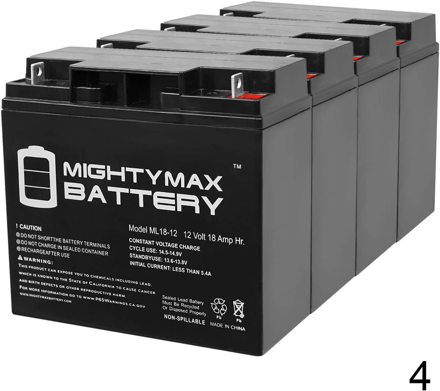 Mighty Max Battery 12V 18AH SLA Battery Replacement for A.P.C SU2200RMXLTNET 4 Pack Brand Product
