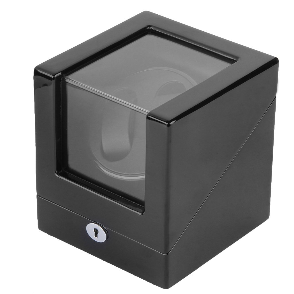 CRITIRON Watch Winder 2+0, Caja giratoria para 2 relojes automáticos, 4 opciones de movimiento, Madera de artesanía a mano, pintura de piano, ...