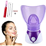 VOUMEY Facial Steamer - Nano Ionic Facial Steamer Warm Mist Moisturizing Face Steamer Home Sauna SPA,Pores Cleanse Clear…