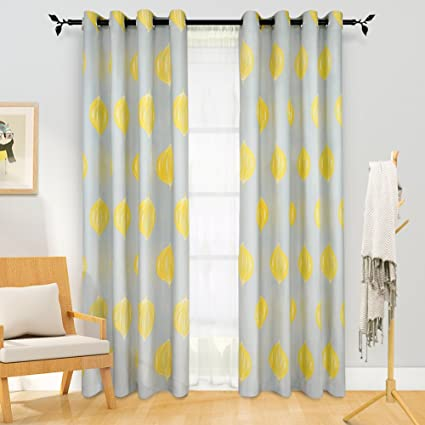 Melodieux Lemon Linen Grommet Top Curtains For Living Room, 52 By 84 Inch,  Yellow
