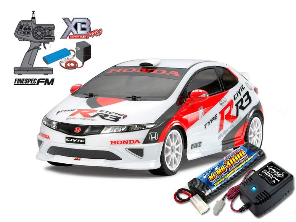 当店オリジナル タミヤ XBフルセット Honda シビック TYPE R R3 JAS モータースポーツ(TT-01 TYPE-E)+急速充電器大容量バッテリーセット 57812-2638-2883 B07N5FLQKK