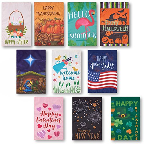 10 Pack Garden Flags - Decorative Seasonal Festive Holiday House Flag Banners, Outdoor Lawn Decorations, 10 Assorted Festive Illustrations, 18.5 x 12.3 Inches