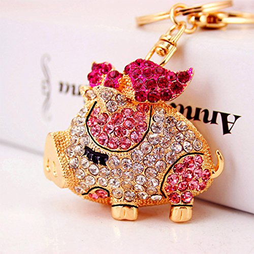 Reizteko Gold-Toned Crystal Rhinestone Pig Keychain Pendant Keychain Charms Gift (Pink) -