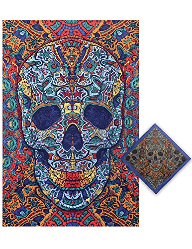 Sunshine Joy 3D Skull Tapestry Tablecloth Beach Sheet Wall Art Huge 60x90 Inches with FREE BANDANA (22 Stake Table)