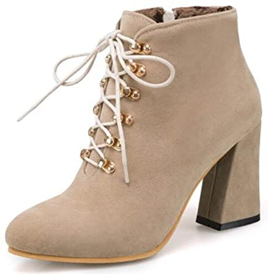 Women's Unique Pointed Toe Low Chunky Heels Lace Up Buckle Martin Boots Short Booties With Zipper