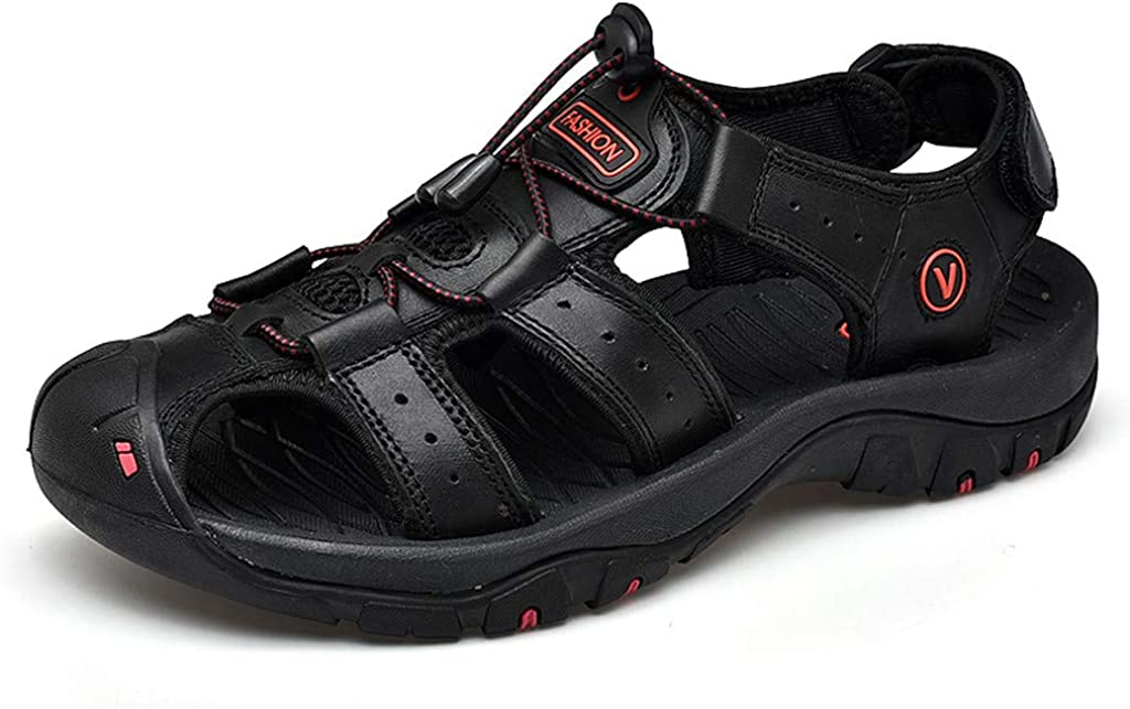 kaifongfu Sport Sandals Slides Athletic Men Leather Beach Shoes Casual Outdoor Fisherman Strap Hiking Large Size