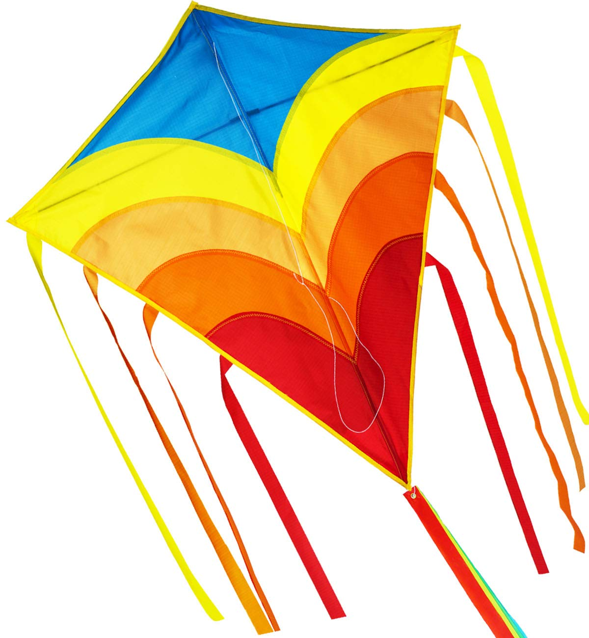 ZHONGRAN Rainbow Kite/Diamond Kite Easy Flyer and Assemble Strong Pull Handle and Line Single Line and Long Tail Ribbons The Best Kite for The Beach Toy for Kids and Adults