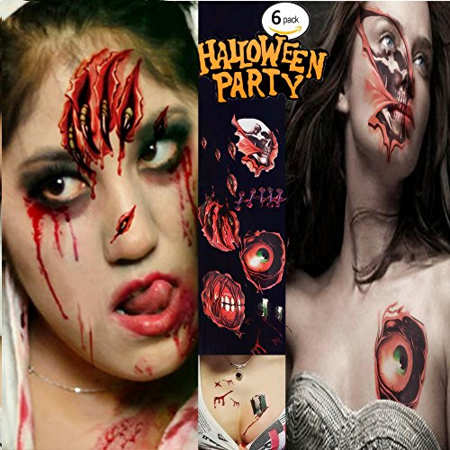 Zombie Face Tattoo (Halloween Tattoos, Scar Tattoos, Waterproof Body Face Wound Zombie Scar Wound Tattoos, Fake Blood Horror Injury Tattoo Stickers for Halloween Costume Party, Vampire Zombies Cosplay (6 Pack))