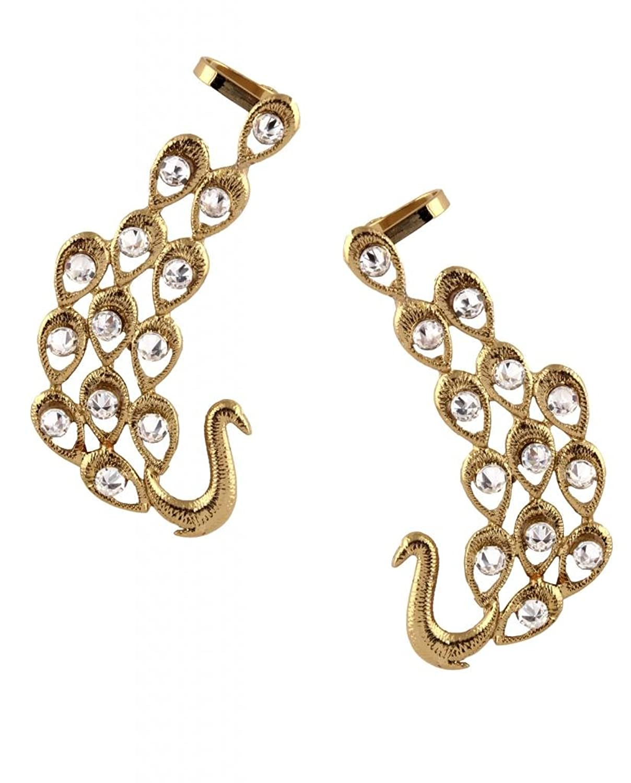 Buy The jewelbox american diamond gold plated peacock ear cuff ...