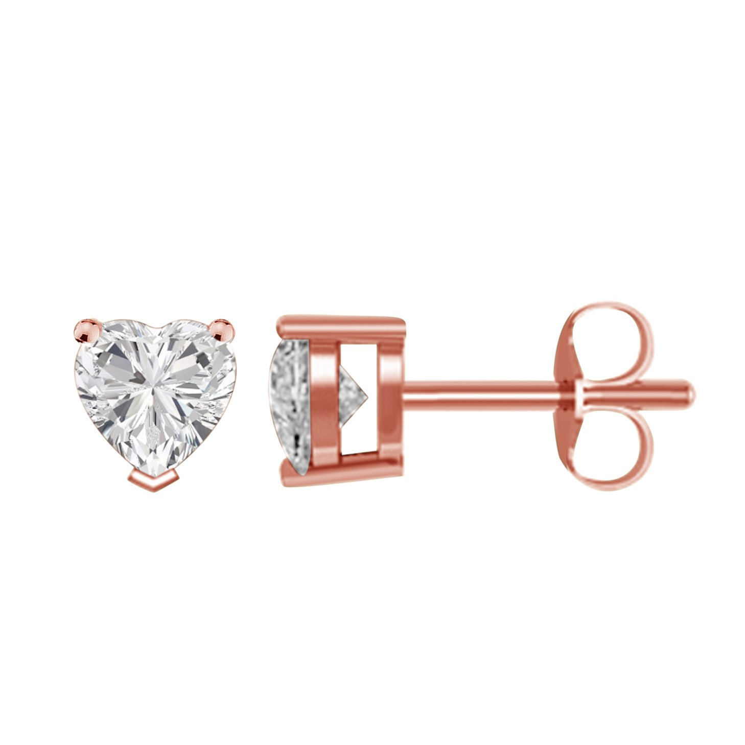 14K Rose Gold Plated CZ Stud Earrings Simulated Diamond Heart Cubic Zirconia Ear Stud Set 4mm To 8mm