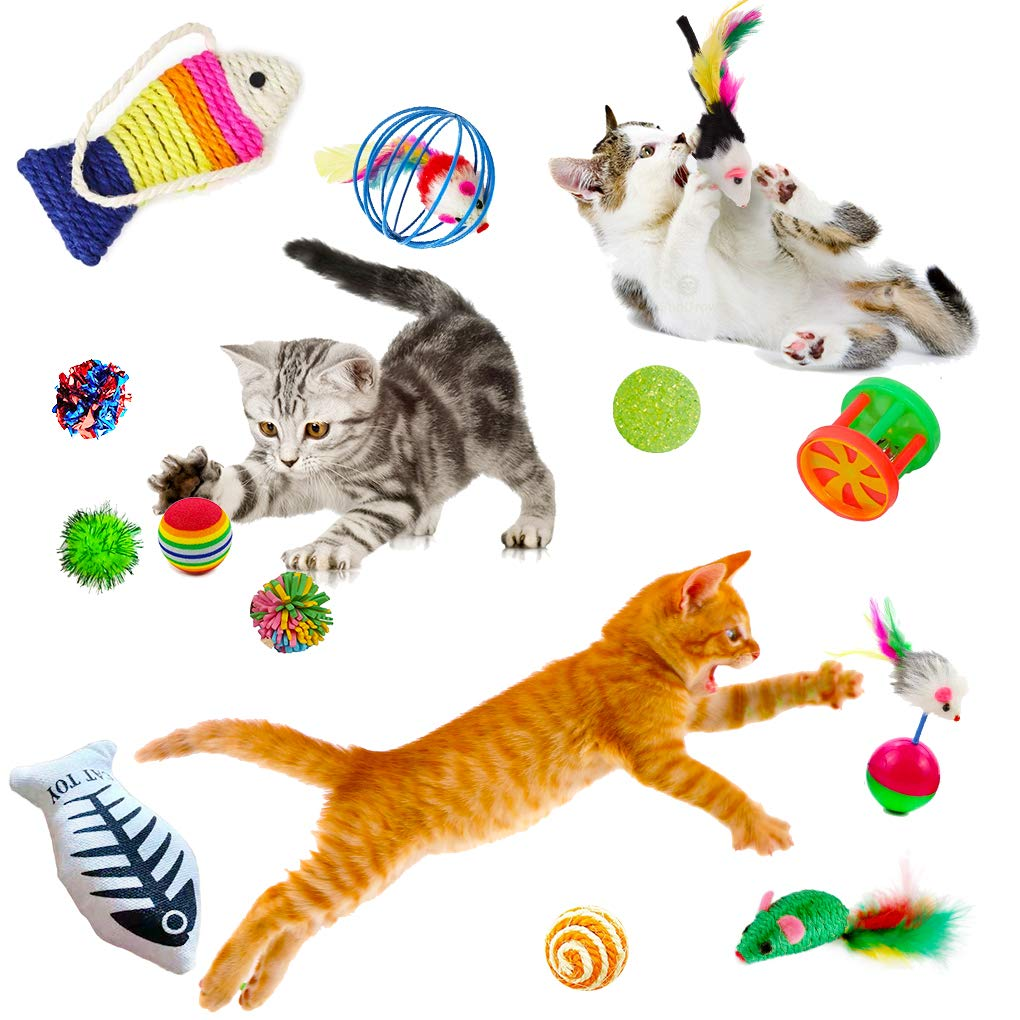 SunGrow 6 Pack Cat Toys - Increases Stimulation - Keeps pet Mentally & Physically Fit - Relieves Boredom & Stress - Prevents unwanted Behavior - Gives Hours of Fun