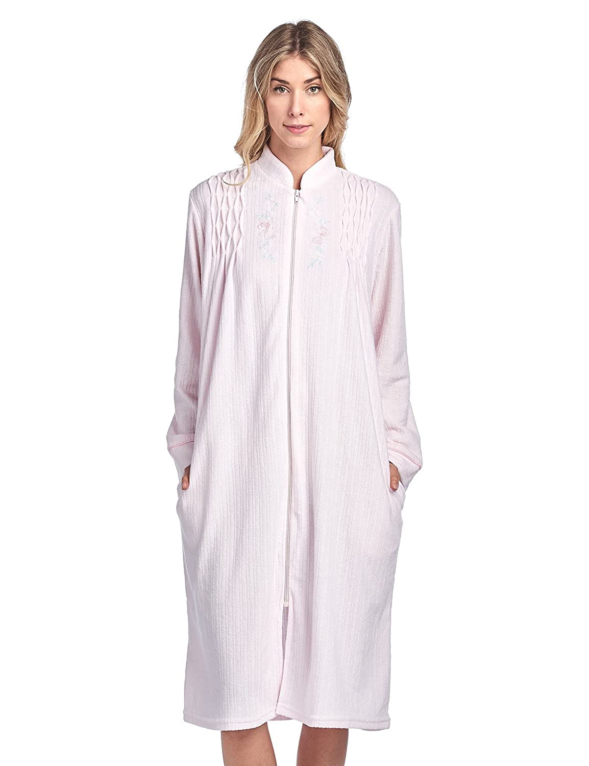Casual Nights Women's Zipper Front Jacquard Terry Fleece Robe Duster Terry Short Robe