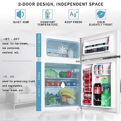 Northair Mini refrigerador de 2 puertas con asa, refrigerador ...