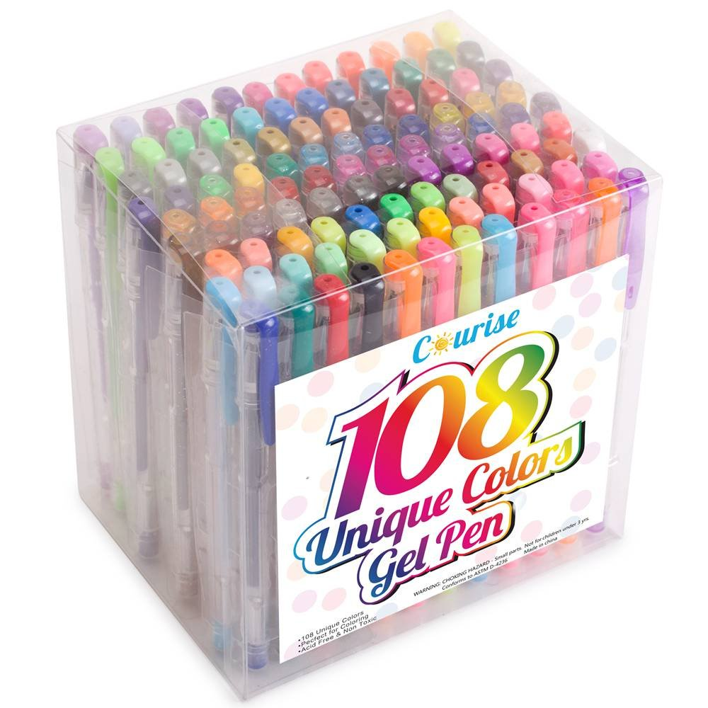 Courise 108 Unique Colors Gel Pens Gel Pen Set For Adult Coloring Books Drawing Painting Writing Doodling